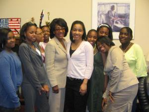 Members of Zelophehad's Daughters meeting with Congresswoman Maxine Waters.